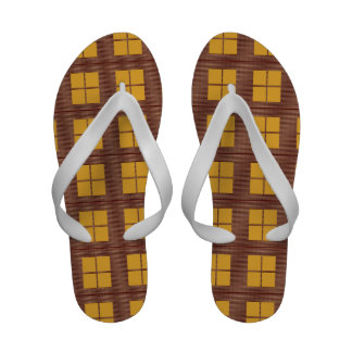 Goden Brown FourSquares Flip Flops