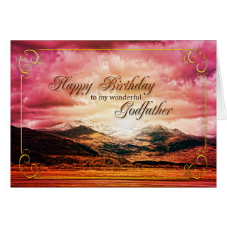 Godfather birthday, Sunset over the mountains Card