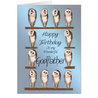 Godfather, Curious owls birthday card. Card