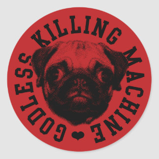 godless killing machine round sticker