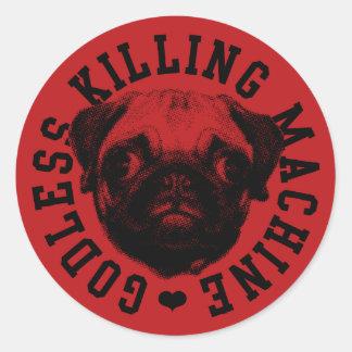 godless killing machine classic round sticker