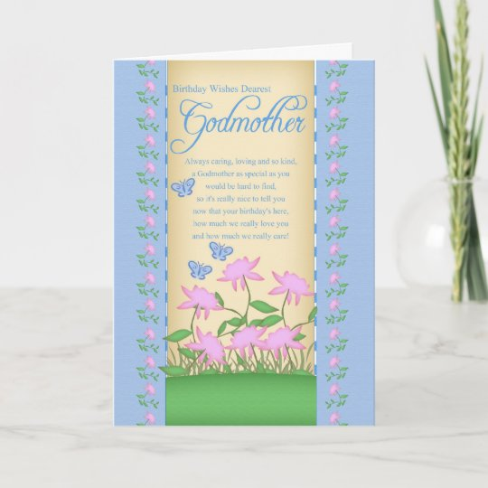 Godmother Birthday Card Flowers And Butterflies