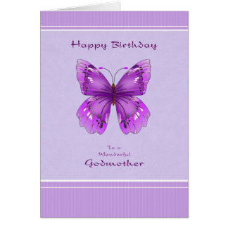 Godmother Birthday Card - Purple Butterfly