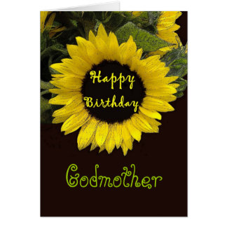 GODMOTHER Custom Name Happy Birthday Sunflower Card