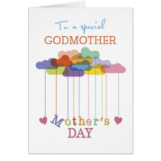 Godmother, Cute Mother's Day Rainbow Clouds Hearts Card