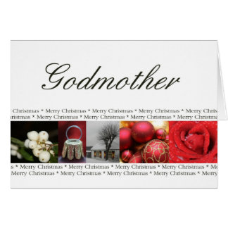 Godmother Merry Christmas red, black & white Greeting Card