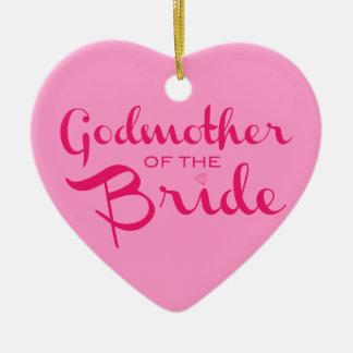 Godmother of Bride Hot Pink On Pink Ceramic Heart Decoration