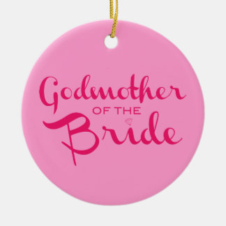 Godmother of Bride Hot Pink On Pink Christmas Ornament