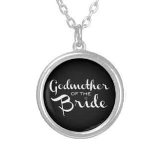 Godmother of Bride Necklace White On Black Custom Jewelry