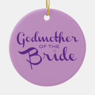 Godmother of Bride Purple on Purple Round Ceramic Decoration
