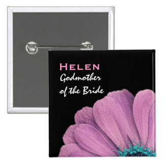 Godmother of the Bride Pink Daisy Wedding 15 Cm Square Badge