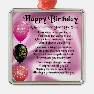 Godmother poem - Happy Birthday Design Christmas Ornament