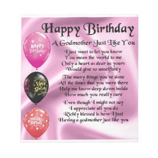 Godmother poem - Happy Birthday Design Notepad
