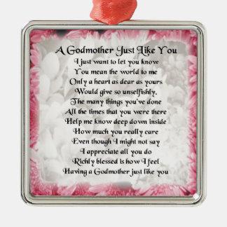 Godmother poem - Pink Floral design Christmas Ornament