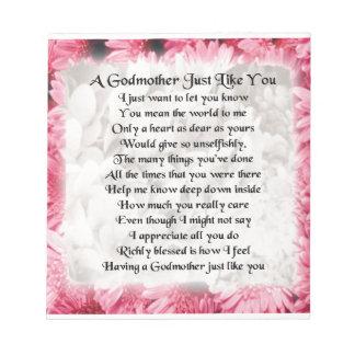 Godmother poem - Pink Floral design Notepad