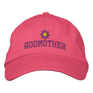 Godmother Purple Flower Embroidered Hat