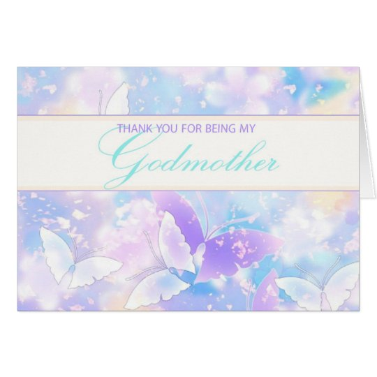 Godmother Thank You Pastel Butterflies Card