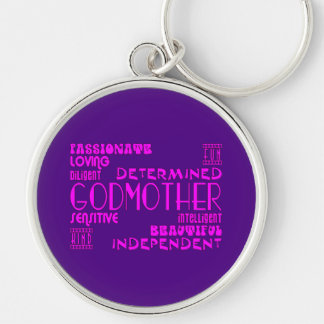 Godmothers Baptims Christening Parties : Qualities Silver-Colored Round Key Ring