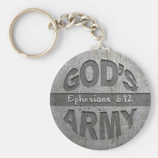 God's Army - Ephesians 6:12 Bible Verse Metal Gray Key Ring