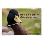 God's Creation Duck Poster
