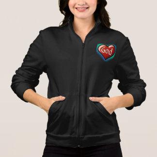 God's Heart Black Ladies Zip up Jacket
