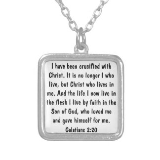 God's love bible verse Galatians 2:20 Square Pendant Necklace