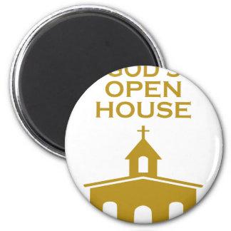 God's Open House 6 Cm Round Magnet