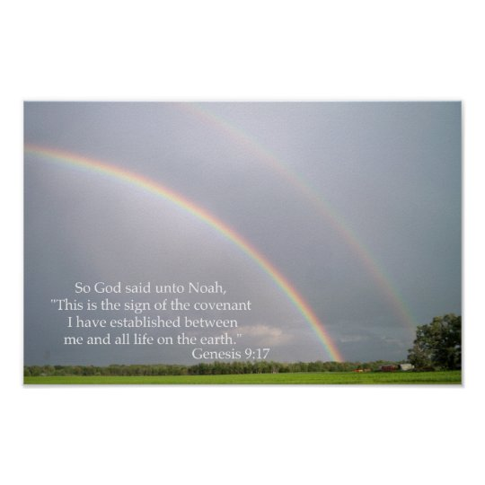 God's Promise to Noah in the Rainbow Poster