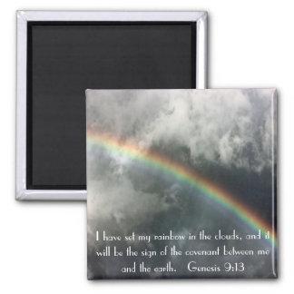 God's rainbow bible verse Genesis 9:13 Square Magnet
