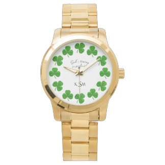 God's Timing Quote Monogram Shamrocks Gold Watch