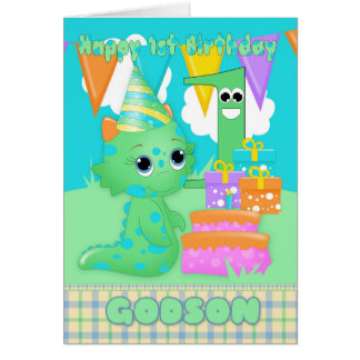 Godson 1st Birthday Cute Little Monster With Gifts Card