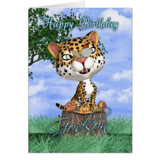 Godson Birthday Card With Cute Jaguar And Butterfl