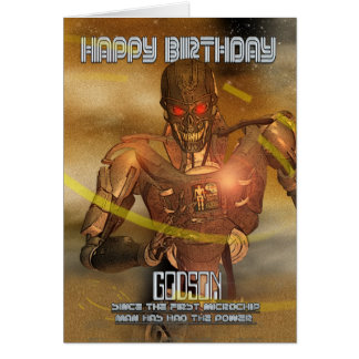 Godson Birthday Card With Cyborg - Modern Robot