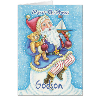 Godson Christmas Card With Cute Santa And Toys