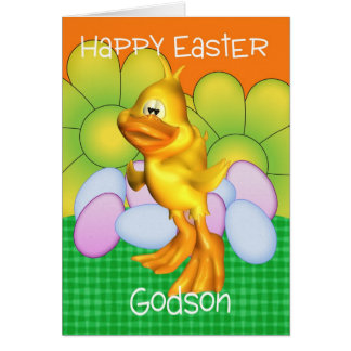Godson Easter Card With Chick Eggs And Bright Flow