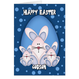 Godson Easter Greeting Card With Cute Rabbits