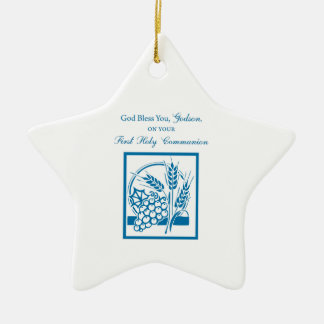 Godson First Communion, Wheat, Grapes Blue Ceramic Star Decoration