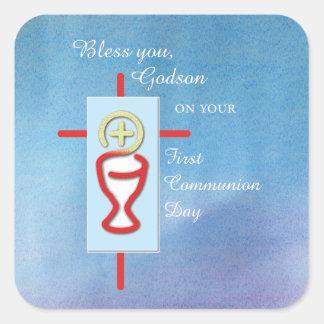 Godson, First Holy Communion, Blue Square Sticker