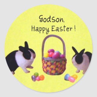 Godson easter gifts t shirts art posters other gift ideas godson happy easter classic round sticker negle Choice Image