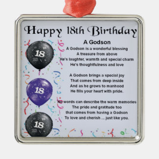 Godson poem - 18th Birthday Design Christmas Ornament