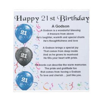 Godson Poem - 21st Birthday Notepad