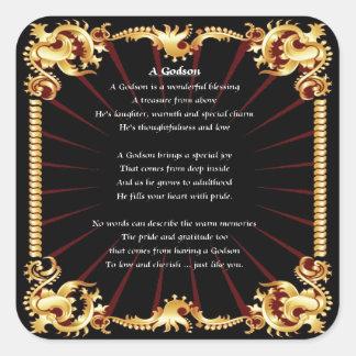 Godson Poem - Black design Square Sticker