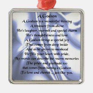 Godson poem - Blue Silk Design Christmas Ornament