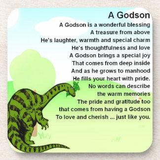 Godson poem - dinosaur design coaster