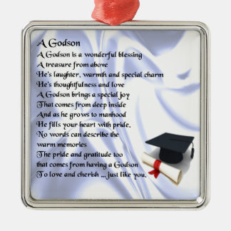 Godson poem - Graduation design Silver-Colored Square Decoration
