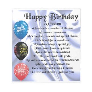 Godson Poem - happy birthday design Notepad
