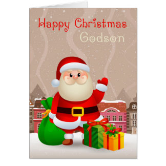 Godson Santa With Sack And Gifts, Christmas Card