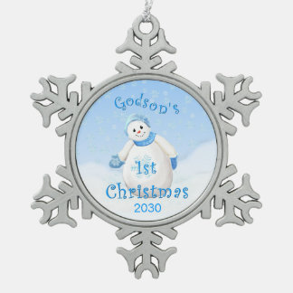 Godson's 1st Christmas Snowman Pewter Snowflake Decoration