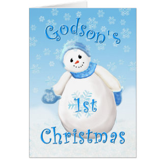 Godson's First Christmas Snowman Greeting Card
