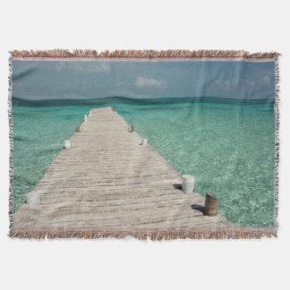 Goff Caye, a popular Barrier Reef Island Throw Blanket